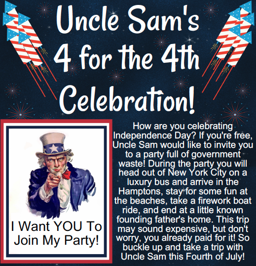 Uncle Sam's 4 for the 4th Celebration!